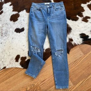 Free People Hi Rise Light Wash Busted Knee Jeans